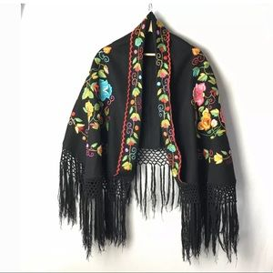 Mexican Fringe Shawl w/Hand Embroidered Flowers